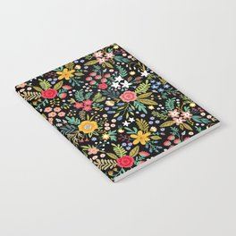 Amazing floral pattern with bright colorful flowers, plants, branches and berries on a black backgro Notebook