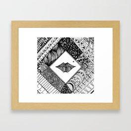 Doodle lips Framed Art Print