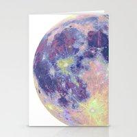 sun and moon Stationery Cards featuring Moon by Marta Olga Klara