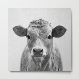 Cow 2 - Black & White Metal Print