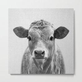 Cow 2 - Black & White Metal Print