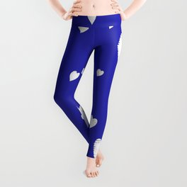 Hand-Drawn Hearts (White & Navy Blue Pattern) Leggings