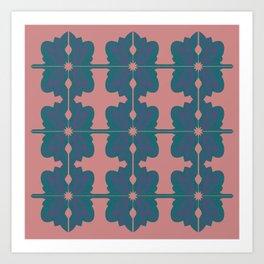 Luxury vint. mandalas BLUE PINK Art Print