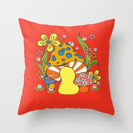 Retro Mushroom Throw Pillow
