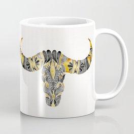 Water Buffalo Skull – Black & Yellow Coffee Mug