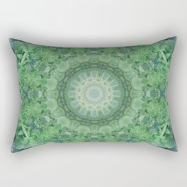 Ornamented mandala in green and blue colors Rectangular Pillow