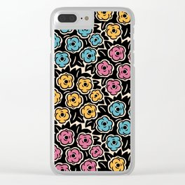 Mid Century Modern Flower Bouquet Pattern 951 Clear iPhone Case