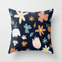 Blooming in the Navy (Handmade Floral Pattern) Throw Pillow