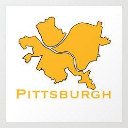 Pittsburgh City Map Gifts Art Print