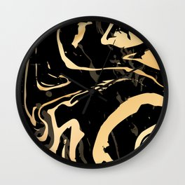 Liquid black and gold marble. Trendy golden ink marbling texture. Suminagashi art. Wall Clock