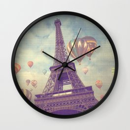 Balloons over Paris Wall Clock