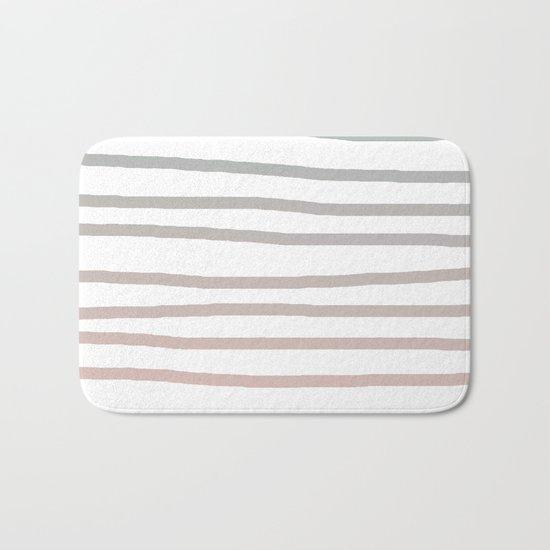 Simply Drawn Stripes in Coral Peach Sea Green Gradient Bath Mat