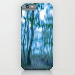 Intentional camera movement, forest, blue green version iPhone Case
