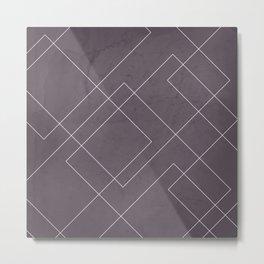 Overlapping Diamond Lines on Aubergine  Metal Print