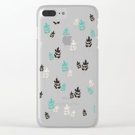 Winter Night Leaves Clear iPhone Case
