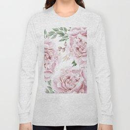 Girly Pastel Pink Roses Garden Long Sleeve T-shirt