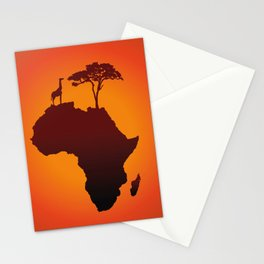 African Safari Map Silhouette Background Stationery Cards