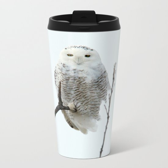 Snowy in the Wind (Snowy Owl) Metal Travel Mug