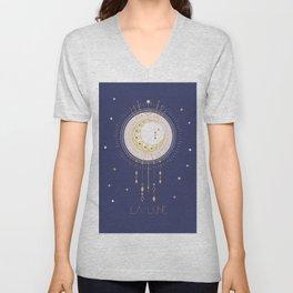 The Moon and stars - magical tarot illustration no6 Unisex V-Neck