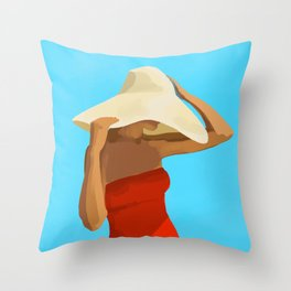 At The Beach: Red Suit Throw Pillow