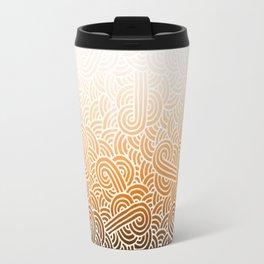 Ombre orange and white swirls doodles Travel Mug