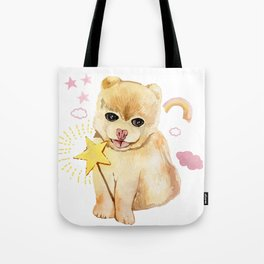 spitz sweet do with pink rainbow Tote Bag
