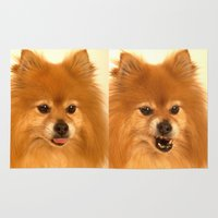 pomeranian Area & Throw Rugs featuring Angry Pomeranian dog by Bruce Stanfield