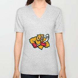 Saber Toothed Cat Ice Hockey Mascot Unisex V-Neck
