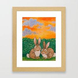 Rabbits in the Bushes Framed Art Print