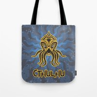 return Tote Bags featuring Cthulhu return by Enrique Valles
