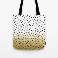 gold dots Tote Bags featuring Dots on White&Gold by Oh Monday