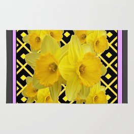 Charcoal Grey Lilac Yellow Daffodils art Rug