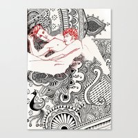 henna Canvas Prints featuring Henna Lovers by N.I.S.