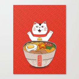 Liter of Ramen. Japanese soup and Manekineko cat. Canvas Print