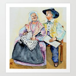 The Provence old couple watercolour  Art Print