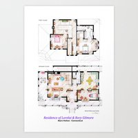 gilmore girls Art Prints featuring House of Lorelai & Rory Gilmore - Both Floorplans by nikneuk
