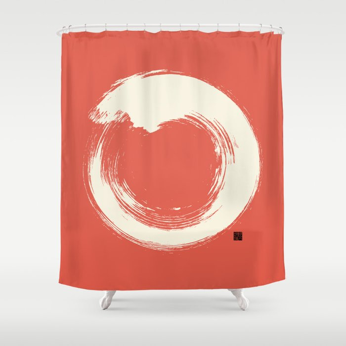 Red Enso Japanese Zen Circle Shower Curtain By Thothadan