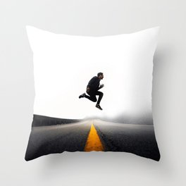 Jump on the yellow line Throw Pillow