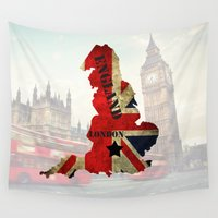 england Wall Tapestries featuring ENGLAND by mark ashkenazi