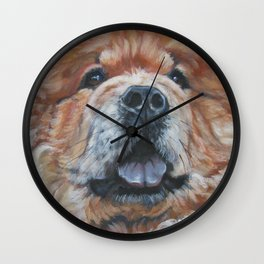 the chow chow dog portrait fine Art Dog Painting from an original painting by L.A.Shepard Wall Clock