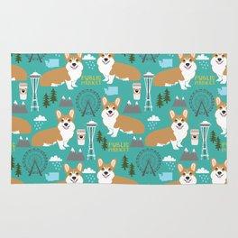 Corgi seattle washington welsh corgi pattern print dog lover gifts space needle ferris wheel coffee Rug