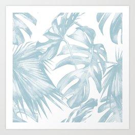 Blue Tropical Palm Leaves Print Art Print