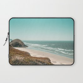 Beach Horizon   Teal Color Sky Ocean Water Waves Coastal Landscape Photograph Laptop Sleeve