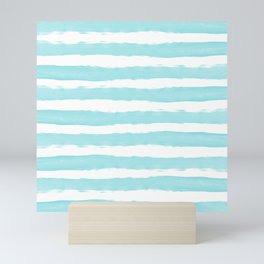 Aqua Blue- White- Stripe - Stripes - Marine - Maritime - Navy - Sea - Beach - Summer - Sailor 2 Mini Art Print