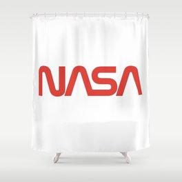 NASA. Worm logo. 1975 to 1992. On white. Shower Curtain