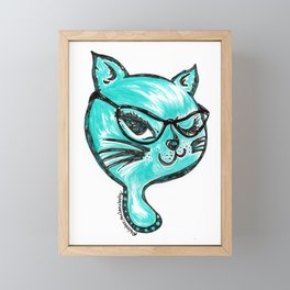 Winking Kitty Glasses Teal Framed Mini Art Print