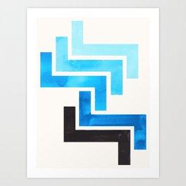 Cerulean Blue Aztec Pattern Mid-century Modern Simple Geometric Pattern Watercolor Minimalist Art Sq Art Print
