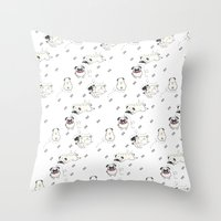 pugs Throw Pillows featuring Pugs by Alisse Ferrari