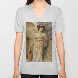 "John William Godward ""At The Fountain"" Unisex V-Neck"