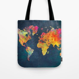 World Map blue #world #map Tote Bag